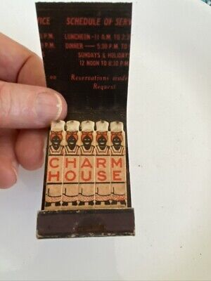 VTG Feature Matchbook 1930s Racist CHARM HOUSE RESTAURANT CHICAGO IL Full