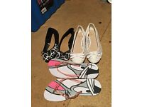 2 ladies flat shoes and flip flops size 6