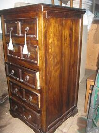 VINTAGE ORNATE CONTINENTAL TALL CHEST OF DRAWERS. STUNNING. VIEWING/DELIVERY AVAILABLE