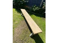 Solid oak dining bench 200 x 30 cm x 2 legs painted grey top is stripped