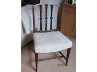 Occasional Dining Chair, mahogany, carved Rennie Mackintosh style back, newly upholstered