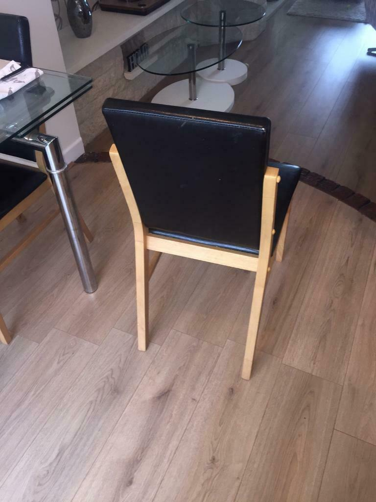 Superb 4 X Pine Dark Brown Leather Effect Dining Chairs 55 Ono In Stockwood Bristol Gumtree Gamerscity Chair Design For Home Gamerscityorg