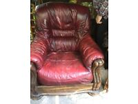 free to collector three seater and one chair free real; leather