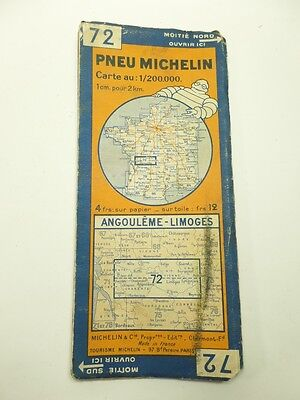Card Michelin #72 Angoulême - Limoges 1934/Collector Bibendum Antique and