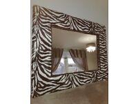 Zebra print fabric large mirror