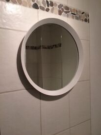 IKEA nice round bathroom mirror in white as new- URGENT
