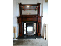 mahogany fireplace with mirror to match,