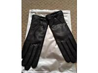 LEATHER FUR LINED GLOVES SIZE: EXTRA SMALL (6.5)