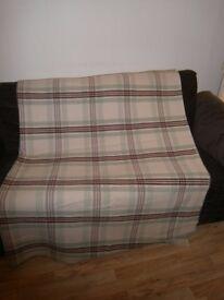 Vintage Welsh Wool Checked Pattern & Stripe Plaid Blanket