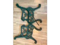 Cast Iron Bench Ends - Green - Vintage / Antique with Lion Face