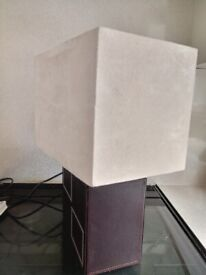 Brown Faux Leather Table Lamp