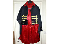 Stunning Military Style Dress Tail Coat Theatrical Costume, satin lined, real gold wire trimmings