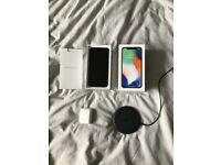 Iphone X 64gb silver unlocked, comes with wireless charger and airpods