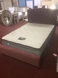 Ex display crushed velvet bed double