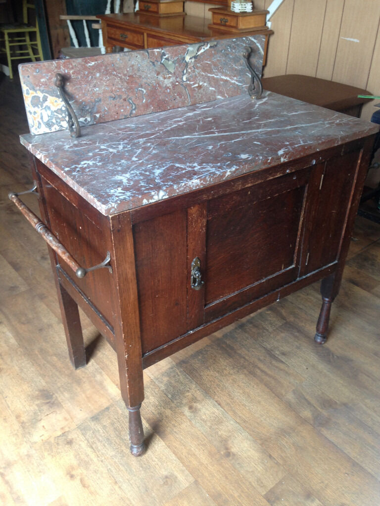 EDWARDIAN ANTIQUE INLAID MAHOGANY MARBLE TOP WASHSTAND