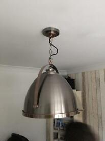 BHS lighting: ceiling light and tripod lamp. copper and brushed steel.