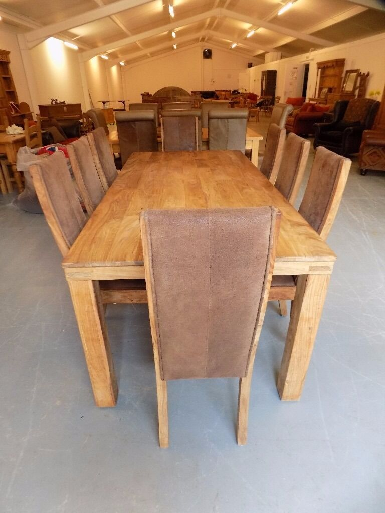 Lovely Large Solid Hardwood Dining Table & 8 Chairs