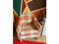 Brand New chair orange, grey and cream checked