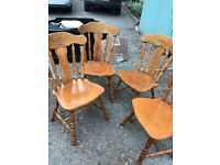 Six Solid Pine Kitchen Chairs