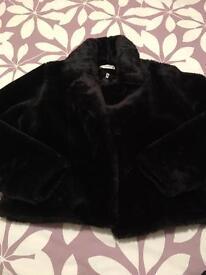 Ladies imitation fur black jacket