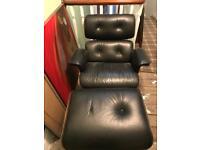 Retro black leather chair & foot stool