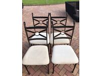 4 Iron Frame Dining Chairs with padded seats