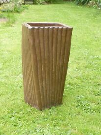 Unusual Ceramic Twisted Brown Garden Planter With Ribbed Detailing 39cm Tall