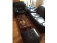 2 piece leather sofa and foot stool