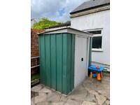 Metal green garden shed