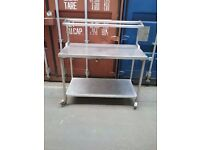 STAINLESS STEEL PREPARATION TABLE WITH SPICE RACK