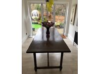 SOLID OAK 1920'S REFECTORY DINING TABLE - STUNNING FEATURES