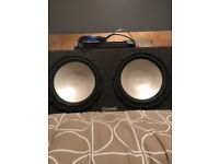 """Twin 12"""" infinity sub-woofer with Sony stereo and a fusion 900watt amp"""