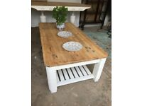 Solid Pine Coffee Table Large stripped and base Chalk Painted
