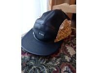 KING Apparel Black Leather Snapback Cap with Leopard Print