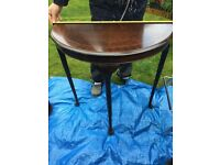 Small half moon table perfect for up cycling in mahogany wood easy to move light in weight