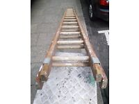 Set of solid wooden extension Ladders 8m overall height