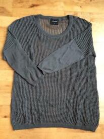 Khaki mesh knit jumper/top