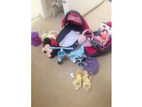 Little Girls bundle of toys. Dolls carriers & baby born tricycle, potty, hand bags, princess shoes