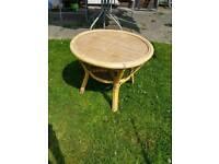 Wicker cane side table