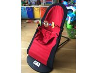 Baby Bjorn Balance Bouncer Chair + Wooden Toy Bar + RED / BLACK reversible + WASHED + CAN DELIVER
