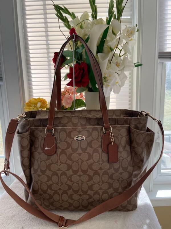 $455 Coach Signature Baby Bag 35414 Khaki Saddle (u800