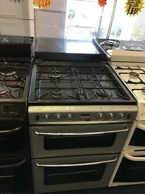 NEWWORLD 60CM DUAL FUEL COOKER IN SILIVER WITH LID