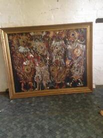 Large artists painting with gold frame