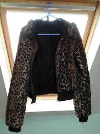 Leopard print coat/jacket Size 10