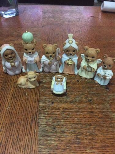 Set of 8 Miniature Bear Nativity Porcelain Figurines Homco 5412 Home Interior