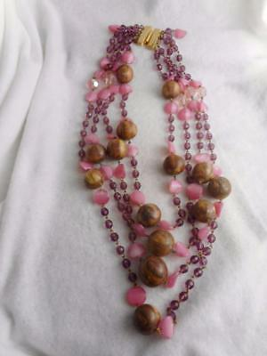 Drops Vintage Glass Bead Strand - DRAMATIC VTG CRYSTAL GLASS & RESIN 24