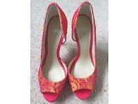 Faith ladies glamorous orange and hot pink peep toe shoes size 4