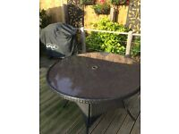 Rattan Circular Glass Top Garden Table