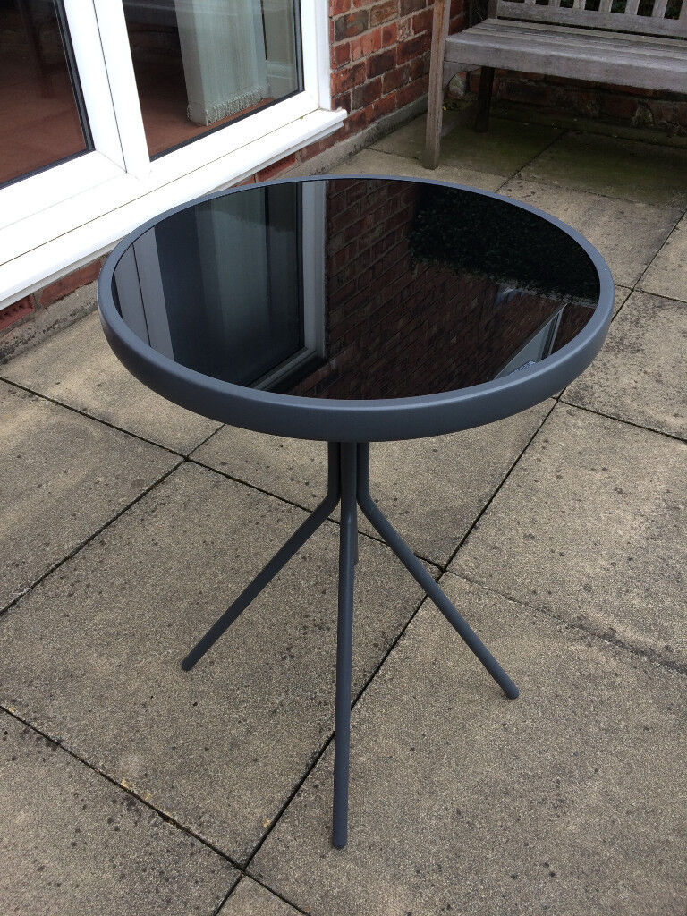 Tesco Round Bistro Table Conservatory Patio Black Grey