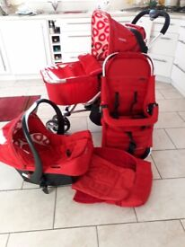 Cosatto Budl 3-in-1 red/white travel system. Pram/Pushchair/Car seat.